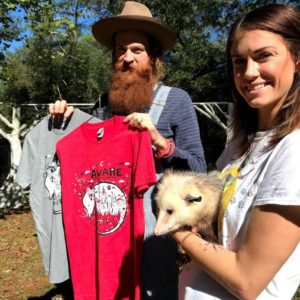 BlackCatTips, volunteer Ambassador Handler Tamara, and Skulli the possum